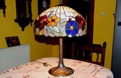 Tiffany lámpa nehéz bronz talppal, 72 cm