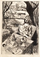 M.B.: Gyermekét szoptató anya - egyedi rajz, keretezve