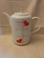 1.o Alföldi piros szivecskés kávé vagy tea kiöntő 19 cm magas