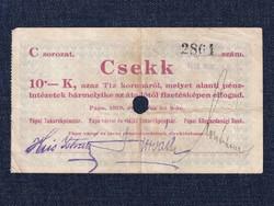 Magyarország Csekk 10 Koronáról 1919 Pápa szükségpénz C sorozat 1919 (id16635)