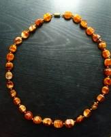 Vintage tigrisszem nyaklánc 50 cm, arany színű köztesekkel, csavarós zárral