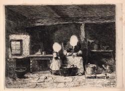 Munkácsy Mihály (1844-1900): Konyhában (Burgonyahámozó)