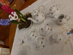 Zsolnay barokk virágos kávéskészlet