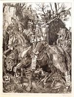 Gácsi Mihály (1926-1987): Lovag-halál-ördög, Dürer emléklére, 1971 - rézkarc, keretezve