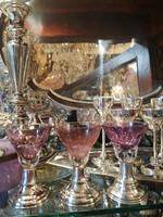 Ólomkristály  likőros pohár. Kézi csiszolás. Ezüst talpú. Dianas l. 1900-as évek.