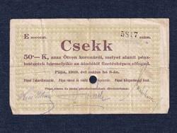 Magyarország Csekk 50 Koronáról 1919 Pápa szükségpénz E sorozat 1919 (id16642)