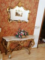 Antik barok-rokoko XVI.Lajos konzolasztal tükörrel  129x78x37cm és 67,5x80,5cm