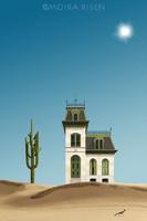 Moira Risen Ház a sivatagban Kortárs szignált fine art nyomat kaktusz kengyelfutó gyalogkakukk