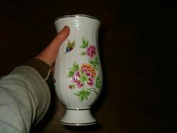 Hollóháza gyönyörű nagy virág váza kaspó nagyon szép porcelán hollóházi virágos pillangós szépség