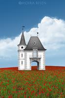 Moira Risen: Kapu a végtelen pipacsmezőkhöz Kortárs szignált fine art nyomat barokk építészet torony