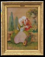 Szerelmesek a parkban - Régi, gyönyörű barokk jelenetet ábrázoló akvarell festmény Nyugat-Európából