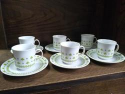 Retro Alföldi porcelán kávés készlet ( Petrezselyem mintás ) 6 személyes