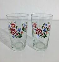 Virág motívumos üveg pohár