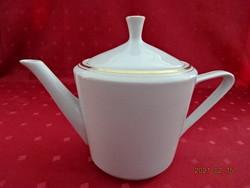 Alföldi porcelán, arany szegélyes teáskanna, felső átmérője 13,5 cm.