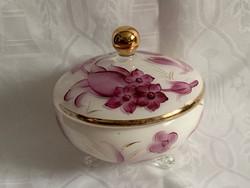 Ritka Art deco fehér-pink üveg bonbonier, háromlabú