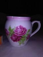 Rózsás Zsolnay hasas csupor, bögre - SÉRÜLT - 12 cm