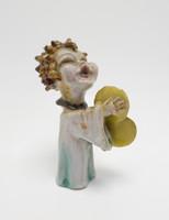 Zilzer Hajnalka; Art Deco kerámia cintányéros figura; 1920-as évek (5140)