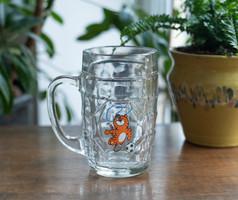 Sörös korsó - retro üveg krigli - olimpiai tigris szimbólummal