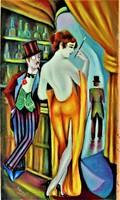 A díva  és a ficsúr / art deco styl /Seres Sándor olaj festménye