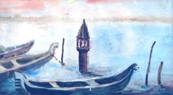 Csipkay: Velencei hangulat - akvarell, keretezve