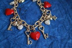 Új arany színű szives LOVE nyaklánc-karkötő szett