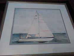 Akvarell festmény. Vitorlás hajóval.
