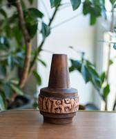 Állatfrízes retro kerámia váza