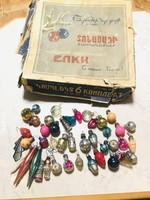 Régi retro szovjet karácsonyfadísz ,60-as évekből,mini díszek dobozában