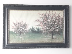 Gyönyőrű virágzó tavaszi tájkép gyümölcsfa liget antik selyemkép eredeti keretben
