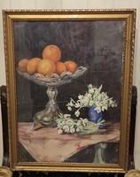 Asztali csendélet,narancsos, kínáló,viràgok hangulatos festmény! Hóvirág a tavasz hírnöke!