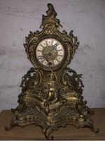 Antik barokk réz kandalló óra