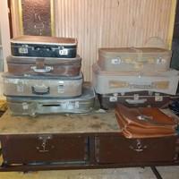 12db bőrönd vagy táska régi retró antik vintage art deco dekoráció