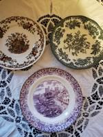 Eladó régi porcelán angol mintás dísz tányérok 3 db!