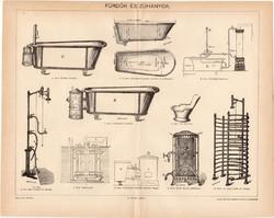 Fürdők és zuhanyok, 1894, egyszín nyomat, eredeti, magyar nyelvű, kád, zuhany, kályha, fürdés