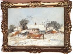 Németh György (1888-1962) - Tanya télen ló fogattal olajfestmény