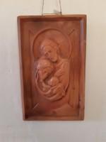 Szent család, cserép, terrakotta falikép