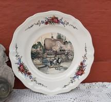 Obernai Sarreguemines Gyönyörű jelenetes fajansz tányér,  25 cm az átmérője, Gyűjtői darab lovas