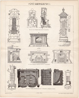 Fűtő szerkezetek I., egyszín nyomat 1897, eredeti, magyar, Pallas, kandalló, kályha, gázkandalló