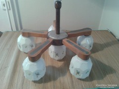 Régi 5+1 ágú tejüveg burás csillár