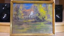 2 db pasztell festmény - Parasztház, falusi tájkép