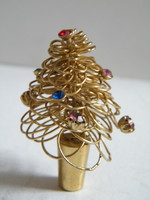 Mini fém, réz gyöngyökkel díszített karácsonyfa dísztárgy