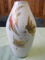 Wallendorf Goldrelief Handgemalt - aranyozott halas váza