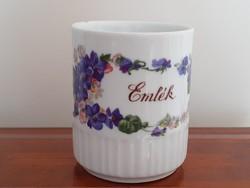Régi Zsolnay porcelán ibolyás bögre emlék feliratos népi teás csésze