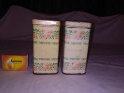 Régi lemez, pléh fűszeres doboz - két darab - klasszikus mintával - együtt