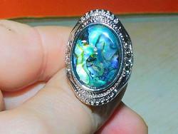 Abalone kagyló Tibeti Gyűrű 8.5-es