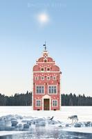 Moira Risen Három Fivér Kortárs szignált fine art nyomat középkor építészet téli táj farkas varjú hó
