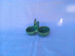 Kakasos asztali só bors tartó kerámia Mohács zöld