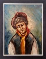 YURY Olajfestmény portré vászonra, 27x33cm, hibátlan, szignózott