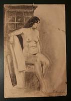 Erotikus női akt - Antik ceruza rajz