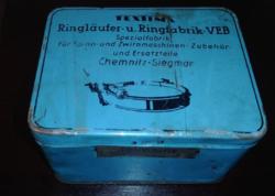 Vintage német Textima Ringlaufer u.Ringfabrik  VEB üres kék bádogdoboz,fémdoboz, fémmunka